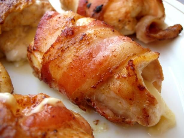 "Bacon Wrapped Smoked Gouda Stuffed Chicken Breasts: ""Easy enough for week nights but perfect for a dinner party too."" via @Food.com ."