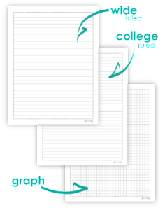 free college ruled wide ruled and graph paper perfect addition