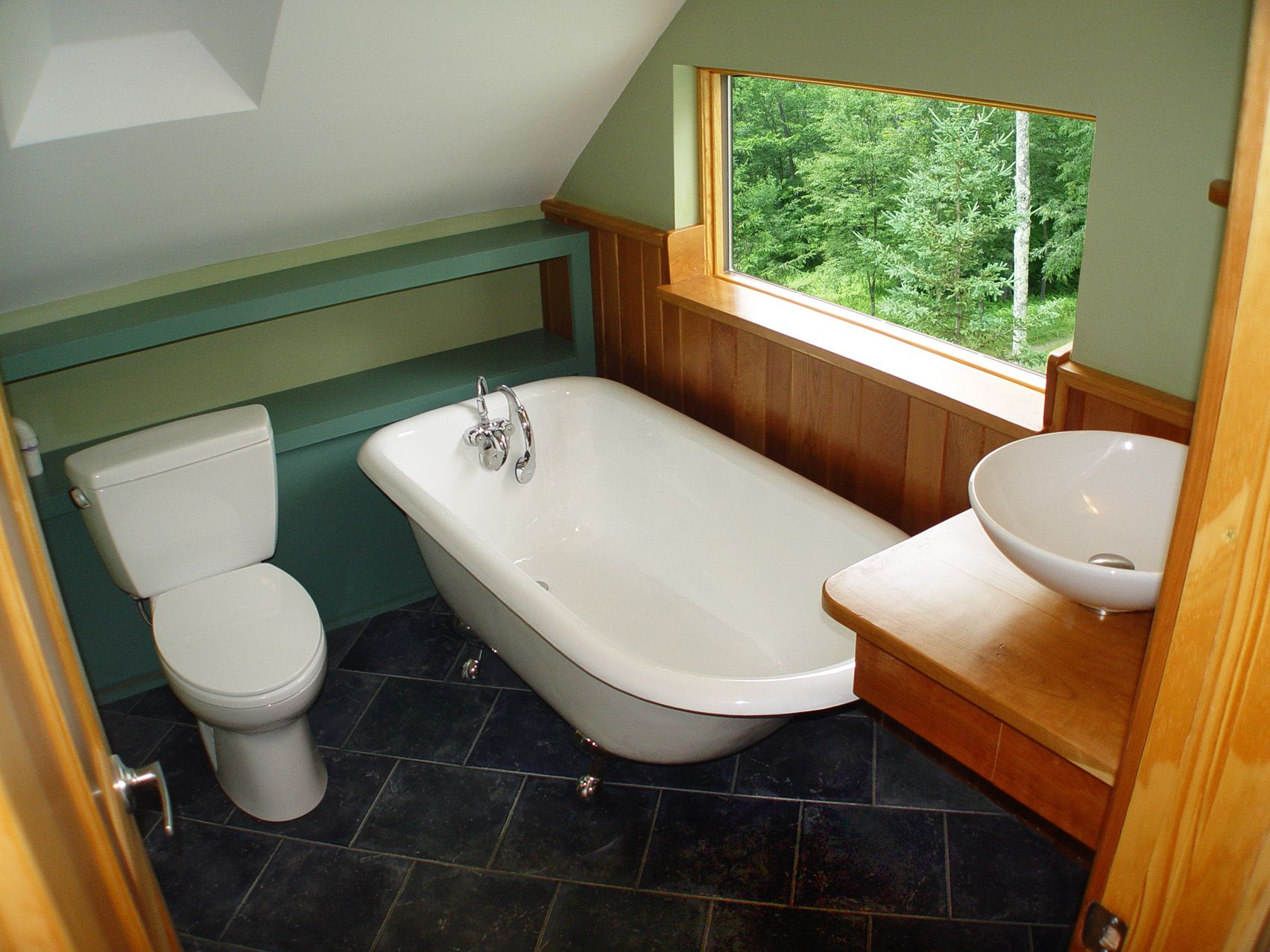 Where The Toilet Is Could Be The Bidet The Window Would Be In A Different Spot Small Bathroom Slanted Ceiling Bathroom Renos