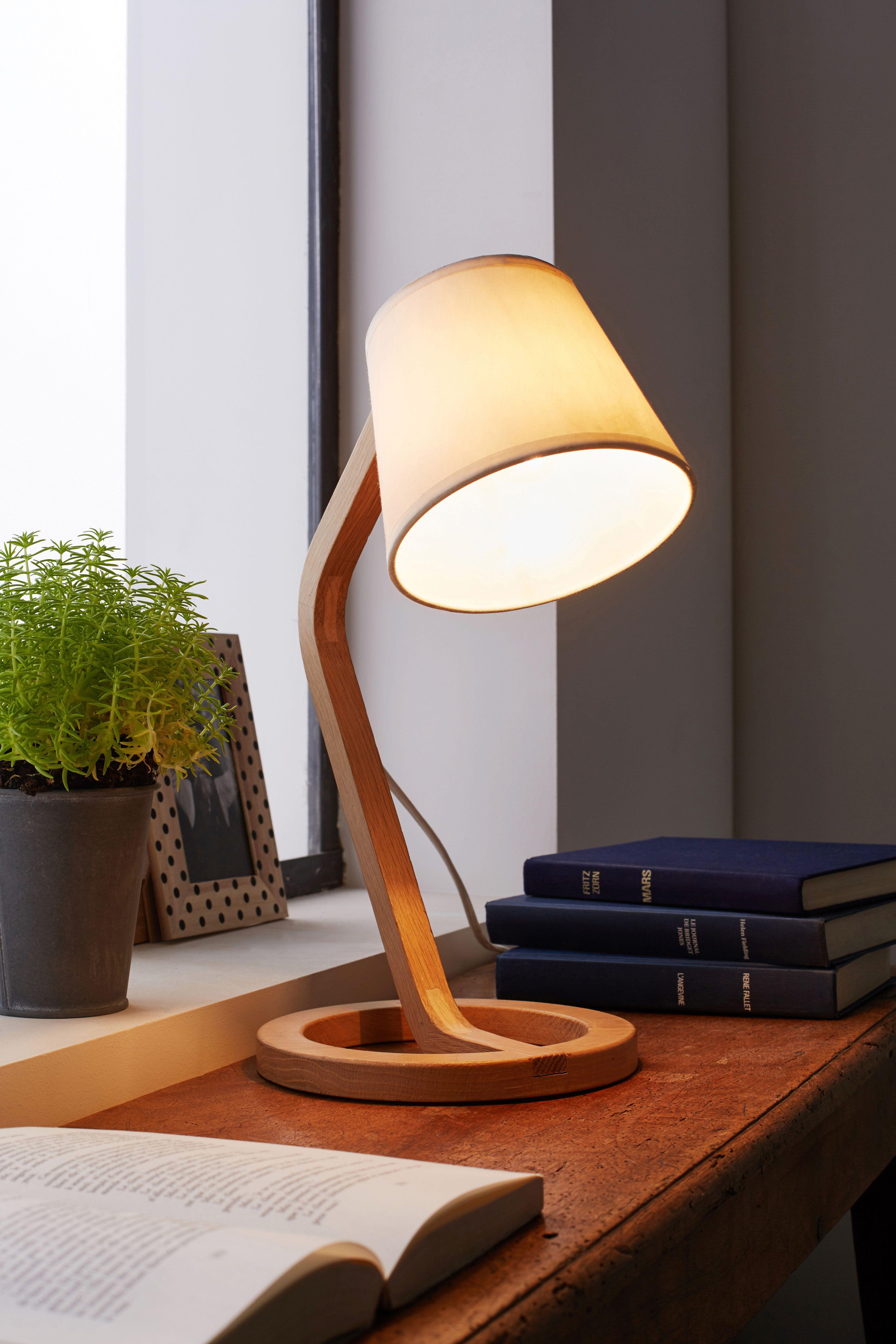Mokuzai   Lampe à poser scandinave en chêne et coton
