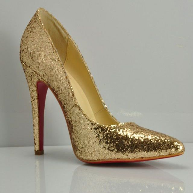 8696d13b1358 Pointy Toe High Heels Gold Rhinestone Pump Red Bottoms Name Brand Glitter  Gold Stiletto Heels Custom Shoes for Sale US  40.99