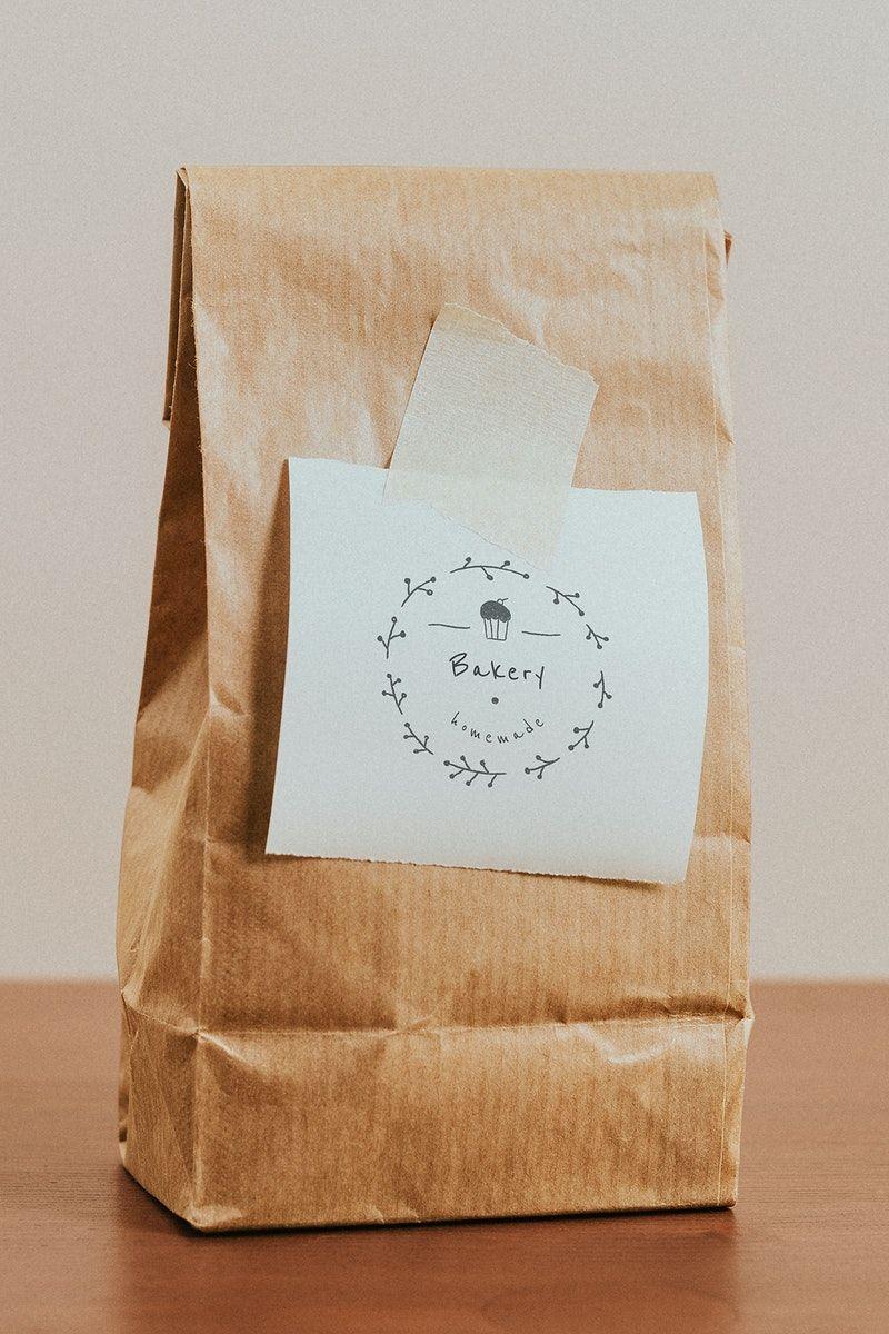Download Download Premium Psd Of Brown Paper Bag With A White Notepaper Mockup Brown Paper Bag Paper Bag Design Note Paper