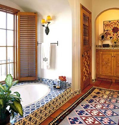 Mexican Tiles And Arched Details Give This Bath A Distintly Southwestern Flair