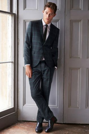 Buy Navy Check Skinny Fit Suit: Jacket from the Next UK online ...