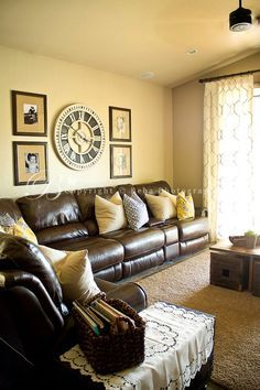 How to Style a Dark Leather Sofa (Den Makeover) use these tips for brown  comfy leather couches, key is window treatment, pillows, rug | Pinterest |  Leather ...