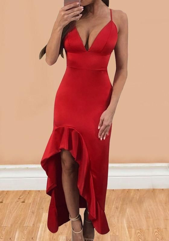 Red Irregular Draped High-low Spaghetti Strap Backless Deep V-neck  Homecoming Party Maxi Dress cb2725b93
