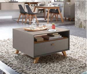 Modern 1 Drawer Coffee Table In Choice Of Oak Effect White Pine Effect Or Matt Stone Furniture Design Modern Furniture Design High Gloss Furniture
