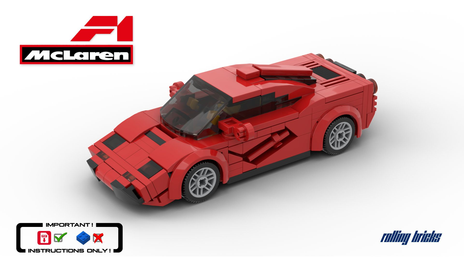 Lego Mclaren F1 Speed Champions Supercar Le Mans Winner Racer Car Custom Moc Pdf Building Instructions Only In 2020 Super Cars Mclaren F1 Fastest Production Cars