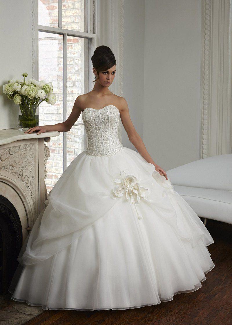 Lace wedding dress glamorous organza sweetheart neckline