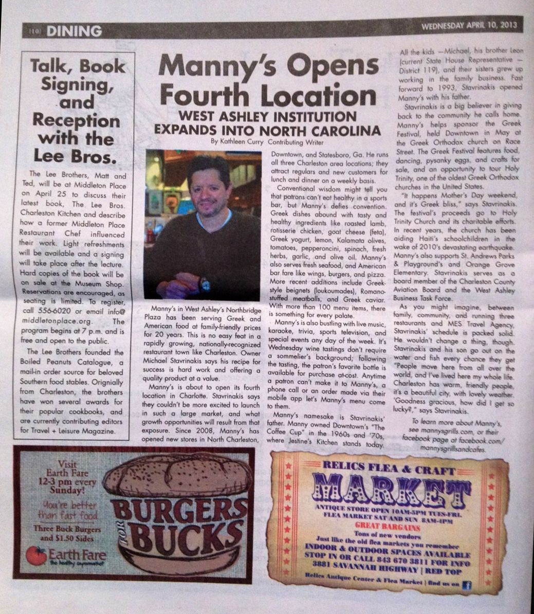 Manny's Grill opens its fourth location in North Carolina
