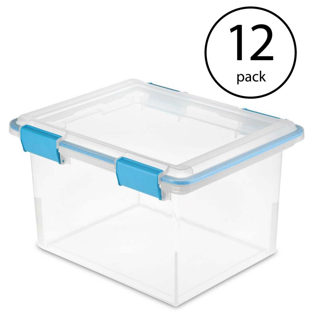 Sterilite Clear 32 Qt Gasket Box With Clear Base And Lid 12 Pack 19334304 In 2020 Plastic Container Storage Clear Bins Wire Storage