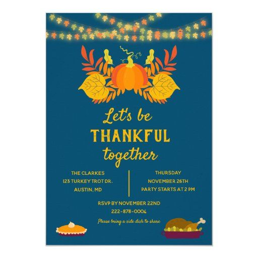 Be Thankful Friendsgiving Pumpkin   String Lights Invitation   Zazzle.com