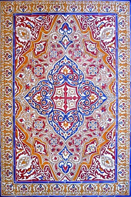 Decorative spanish tiles: hand painted mosaic kitchen bath patio ...