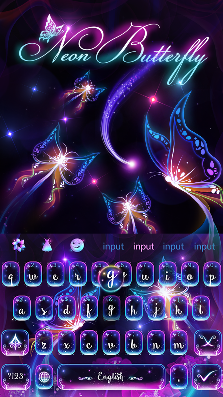 Neon butterfly keyboard, butterflies android keyboard! | Android