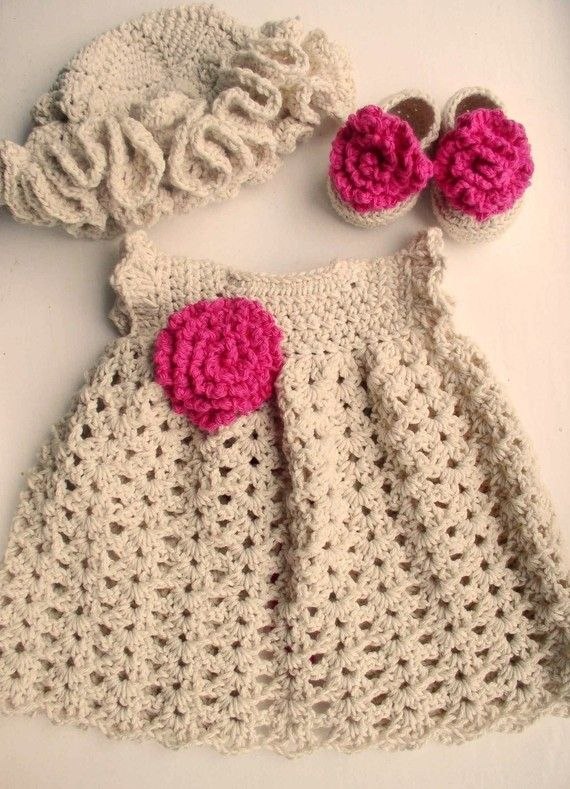 Newborn Baby Girl Dress in Cotton, Shoes/Booties and Sunhat set in ...