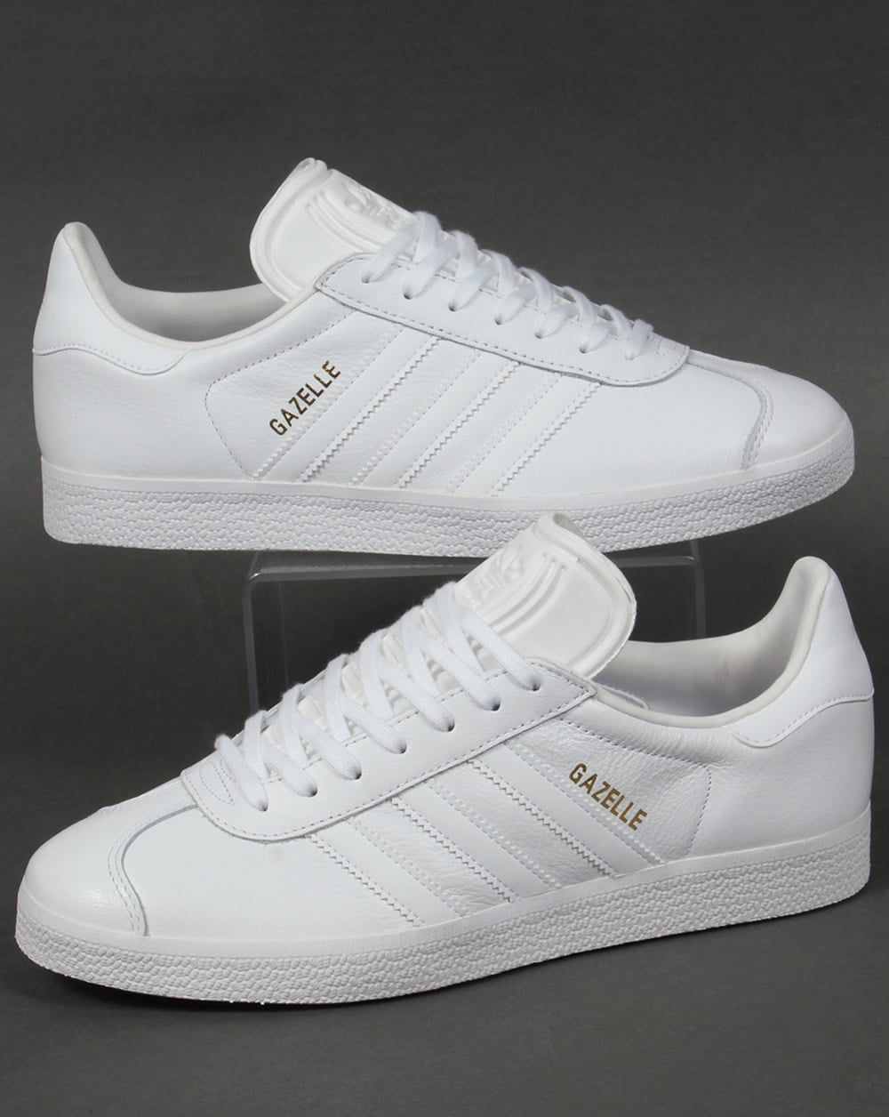 Adidas Gazelle Leather Trainers in White  02b509e9c34