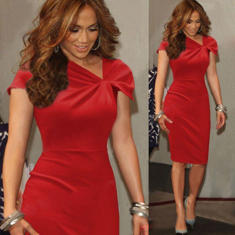 Elegant Womens Dress Ladies V Neck Short Sleeve Knee Length Bodycon Party Dress
