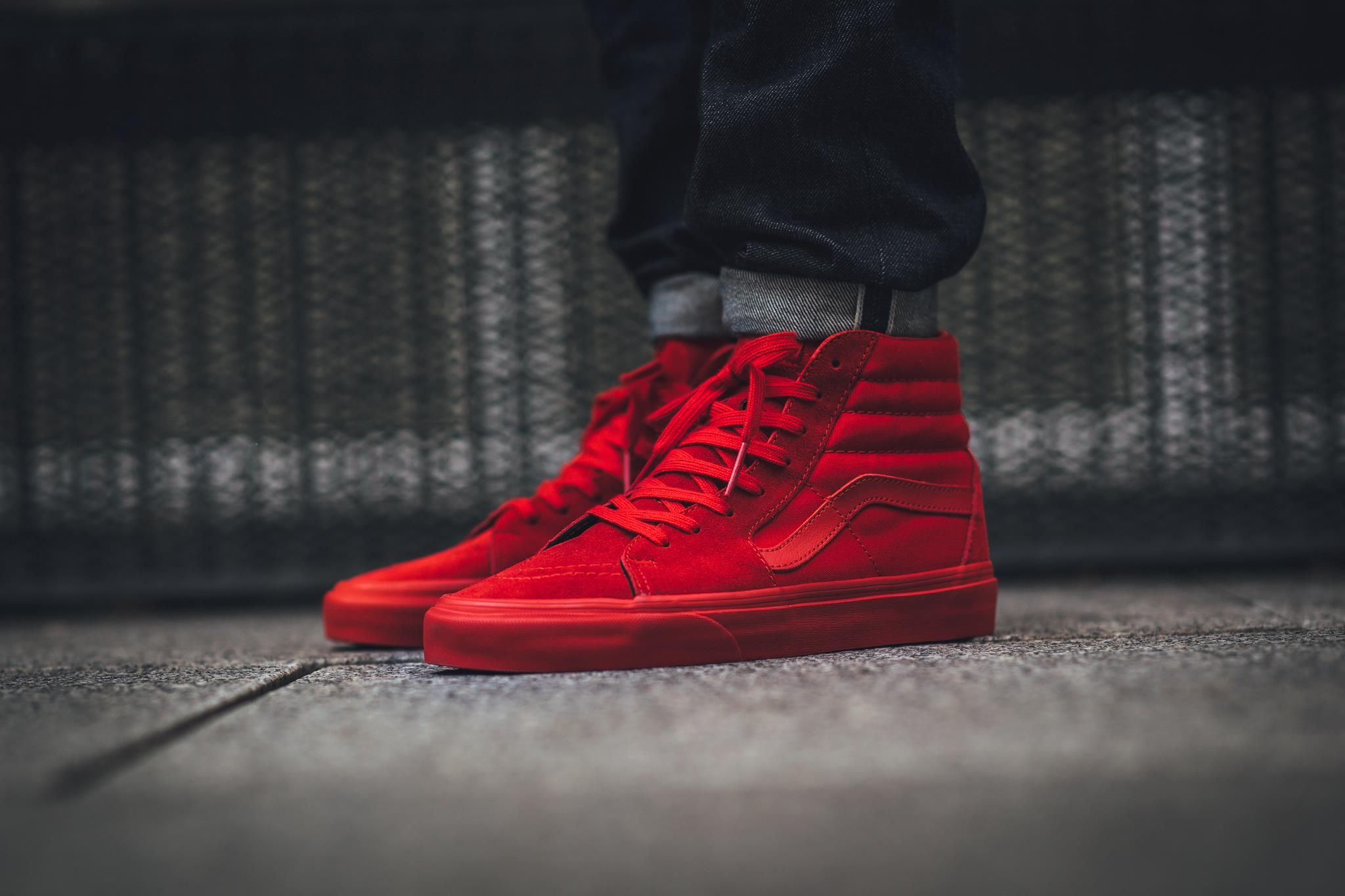 "a65b6d31be21 ... ubiquitous All-Red colorway this season. Find a pair at Vans retailers  overseas now. ""Straight Red Hi s😍"". Bright Red Covers The Vans SK8-Hi ..."
