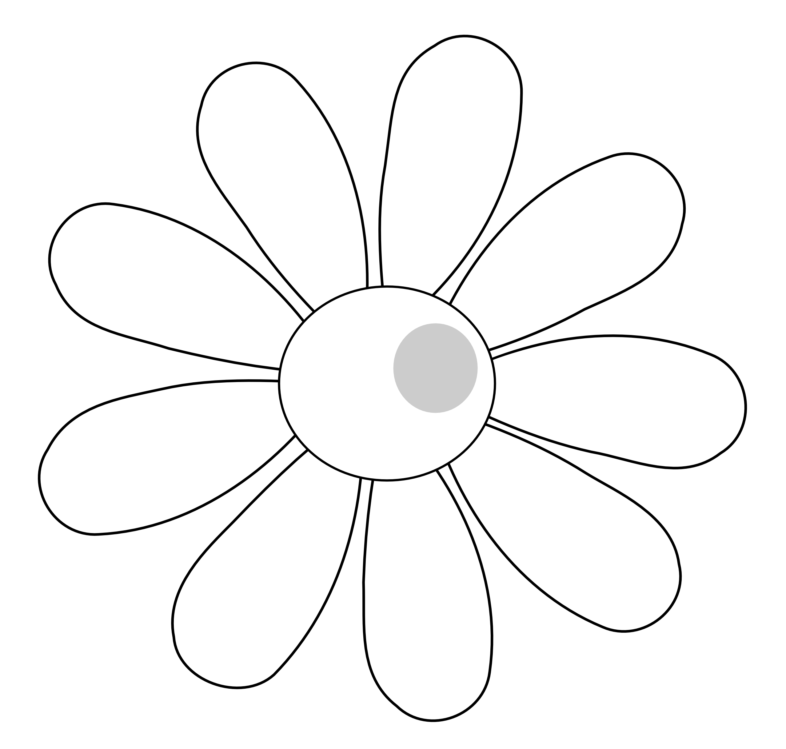 Daisy Flower 7 Black White Line Art Scalable Vector