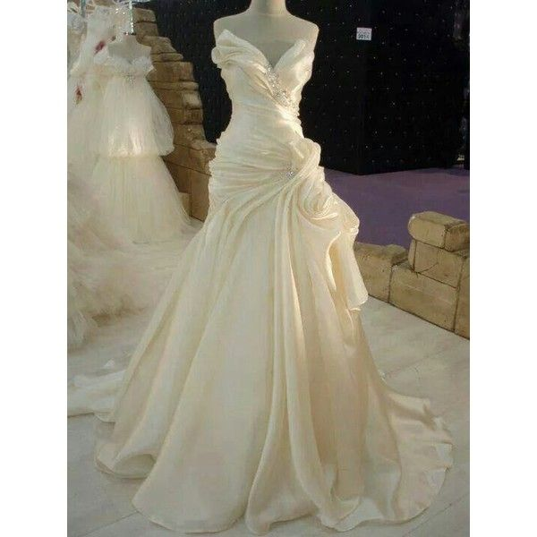 Cream Satin Wedding Dress Liked On Polyvore Featuring Dresses And