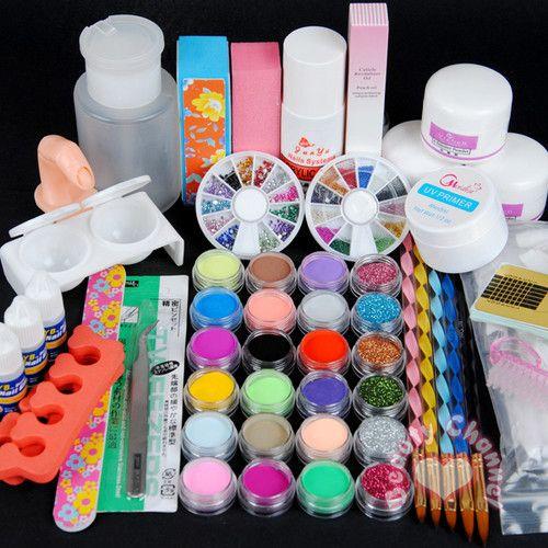 Full Primer 24 Acrylic Powder Uv Gel Liquid Nail Art Tips Pen