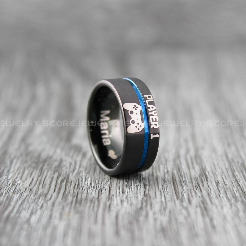 FREE SHIPPING 2 Piece Couple Set 10mm /& 6mm Black Tungsten Bands with Flat Edge Blue Groove Player 1 Player 2 Laser Engraved Tungsten Rings