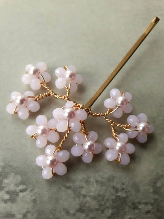 Bridal pink cherry blossom or something blue hair grip, Wedding accessory