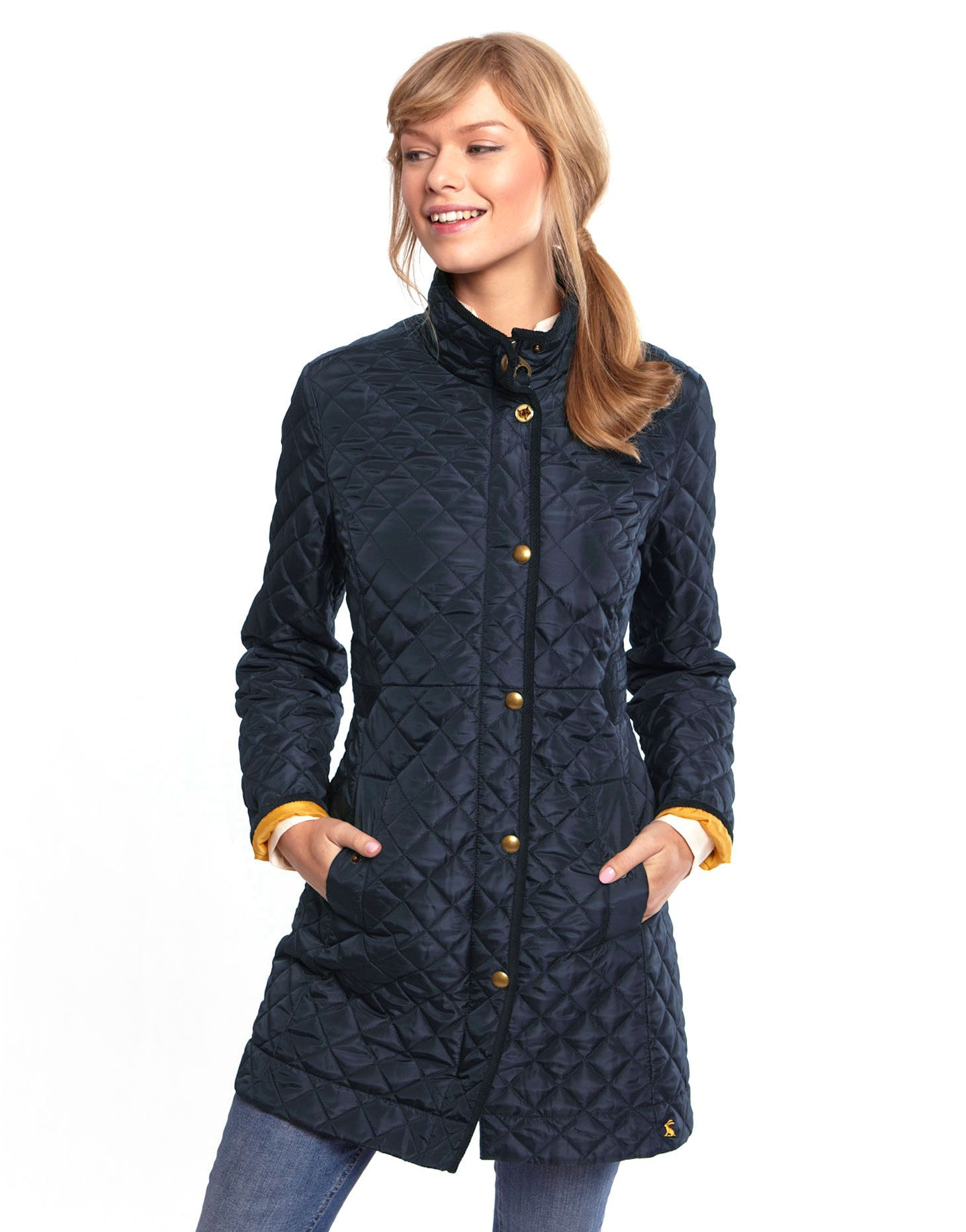 Joules Womens Long Length Quilted Coat, Navy. We believe seeing ...