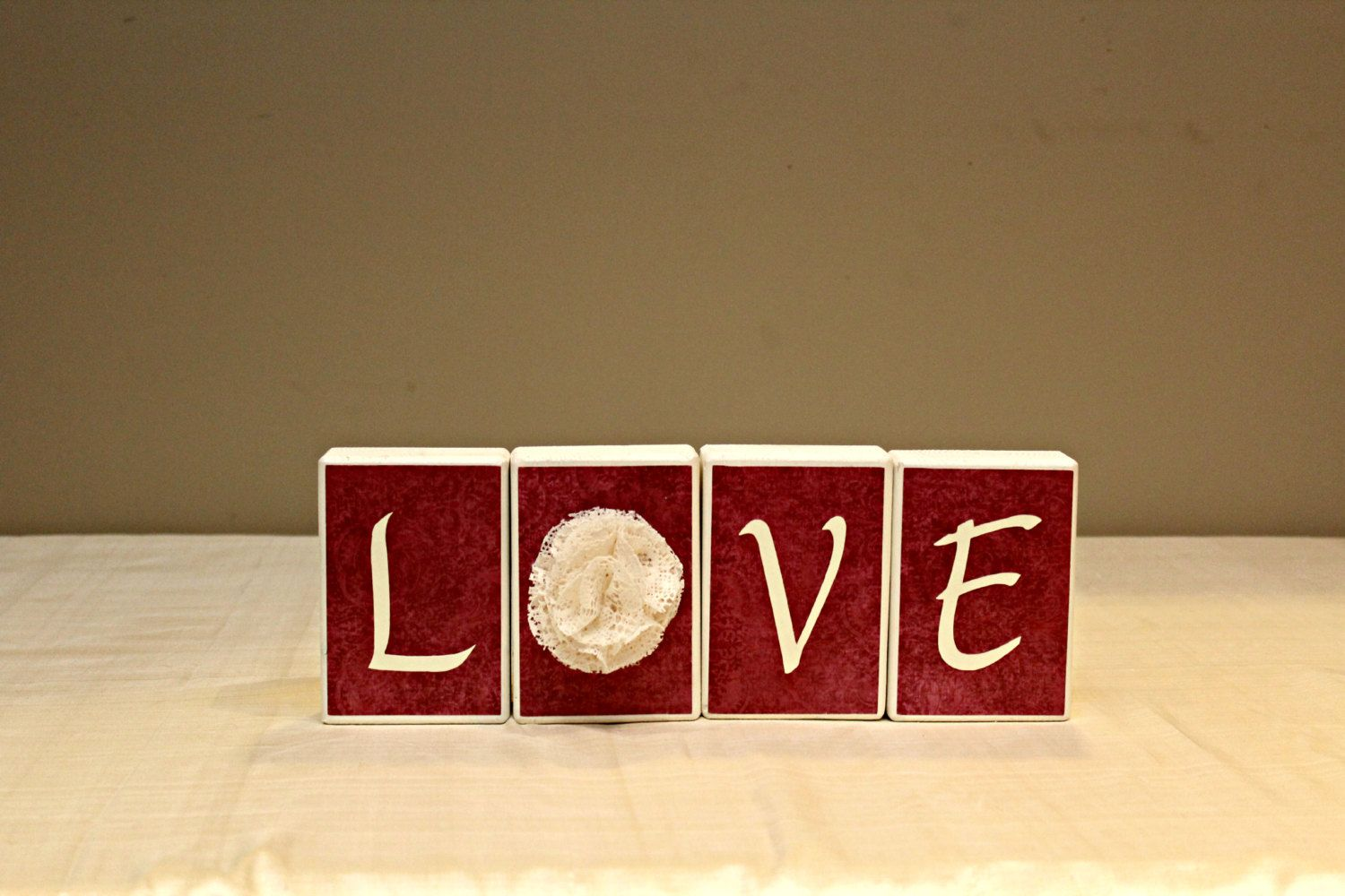 Love Wood Blocks Decor Valentines