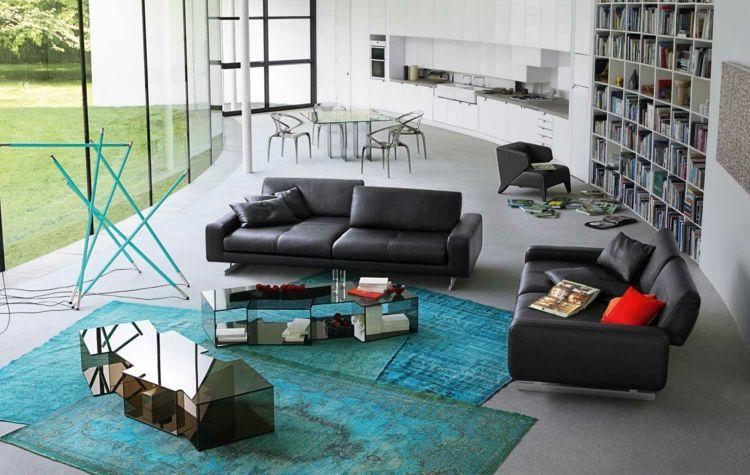 das schwarze sofa mit türkisen dekorationen kombinieren, Wohnzimmer dekoo