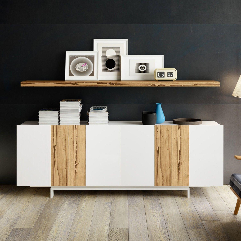 Credenza di design in legno di recupero mosaik ante for Mobili bassi soggiorno