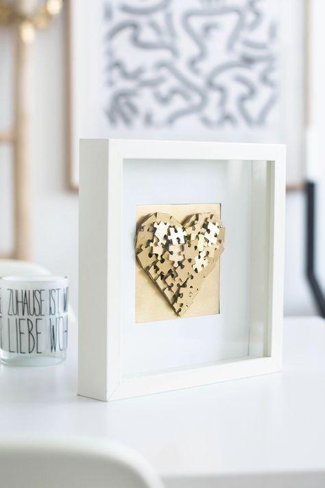 goldenes herz aus puzzle selber machen diy anleitung basteln basteln geschenke und. Black Bedroom Furniture Sets. Home Design Ideas