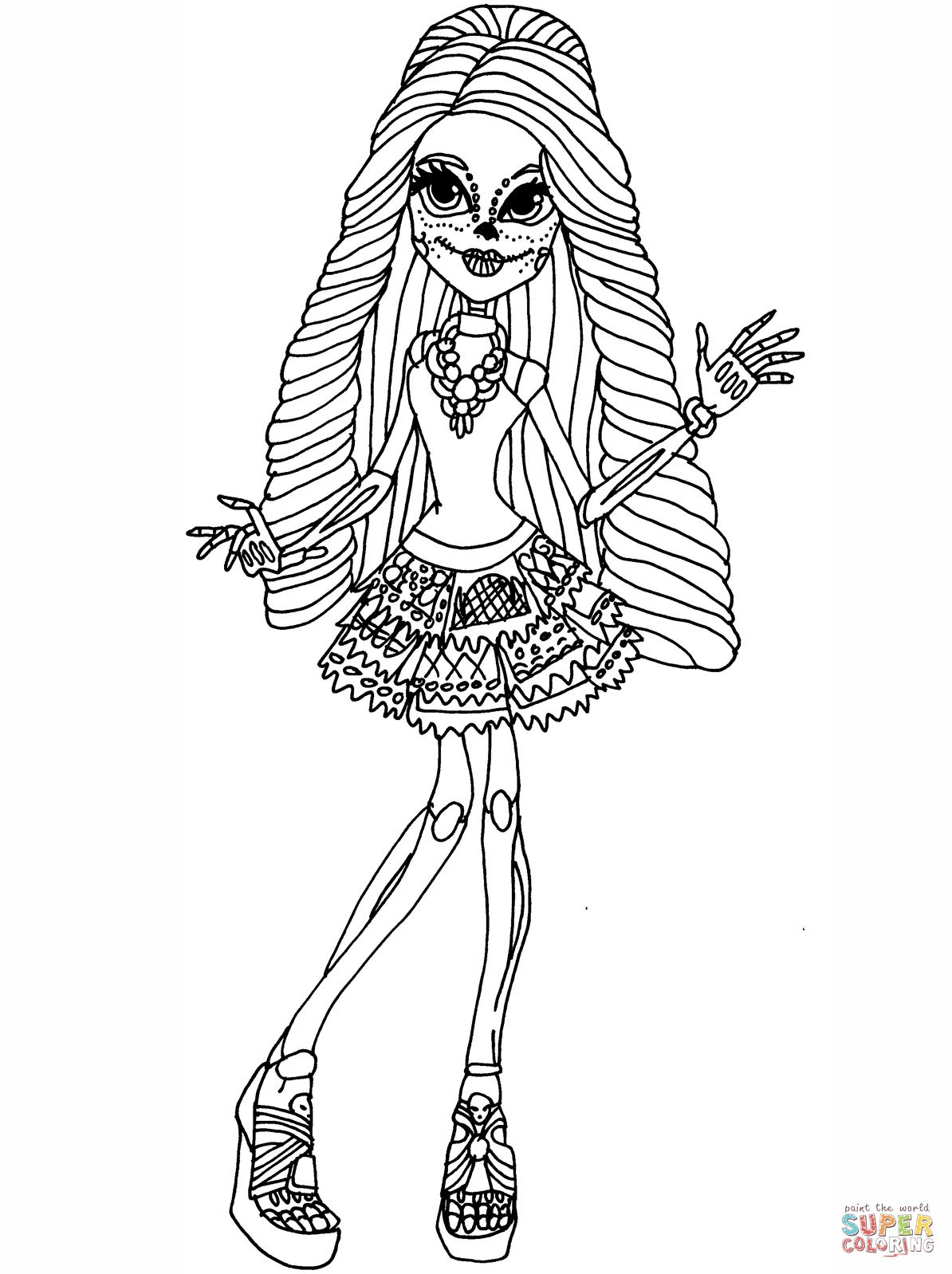 Monster High Ausmalbilder Skelita : Skelita Calaveras Coloring Page Png 1194 1598 Cata Pinterest