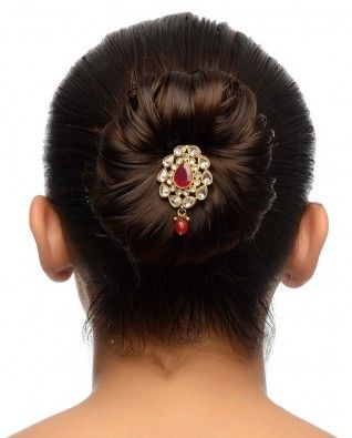 #Exclusivelyin, #IndianEthnicWear, #IndianWear, #Fashion, Pink Stone Floral Hair Pin