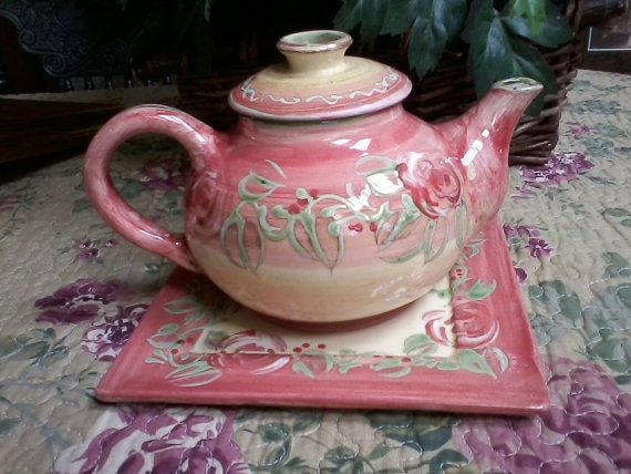 SALE French Pottery Teapot with Tray