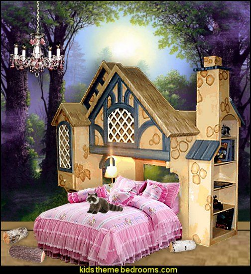 Woodland forest theme bedroom fairies cottage bunk bed for Fairy mural ideas