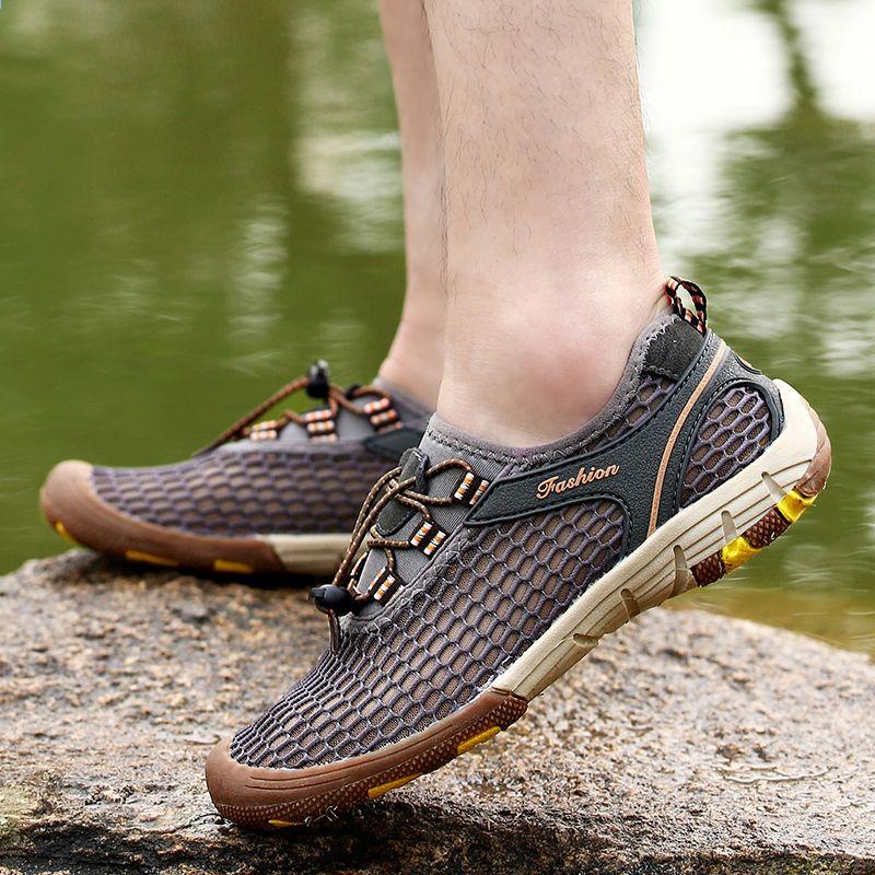2018 Lato Plus Rozmiar 39 47 Nowe Meskie Taktyczne Buty Turystyczne Odkryty Oddychajace Siatki Wspinaczka Trekkingowe Tramp Hiking Shoes Plus Size Summer Shoes