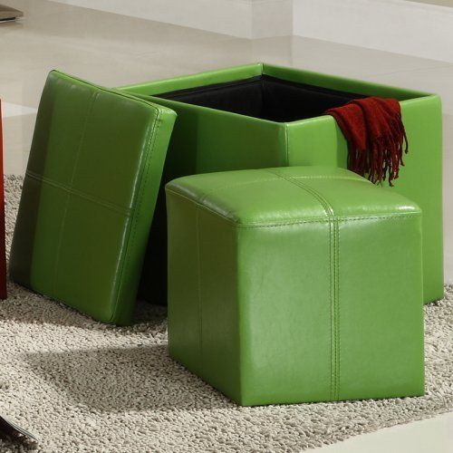 Bon Homelegance Ladd Storage Ottoman Cube   Green: Furniture : Walmart.com