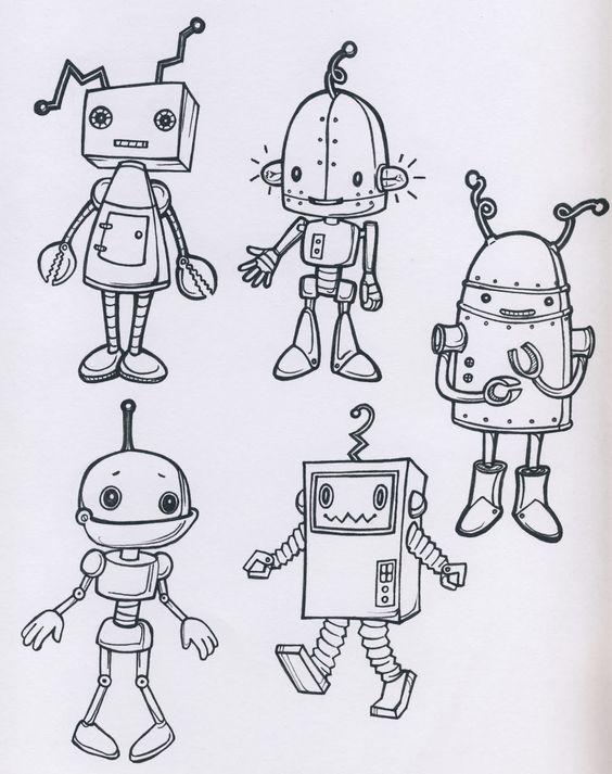 Robots Black And White Outline Get Sketchy Pinterest