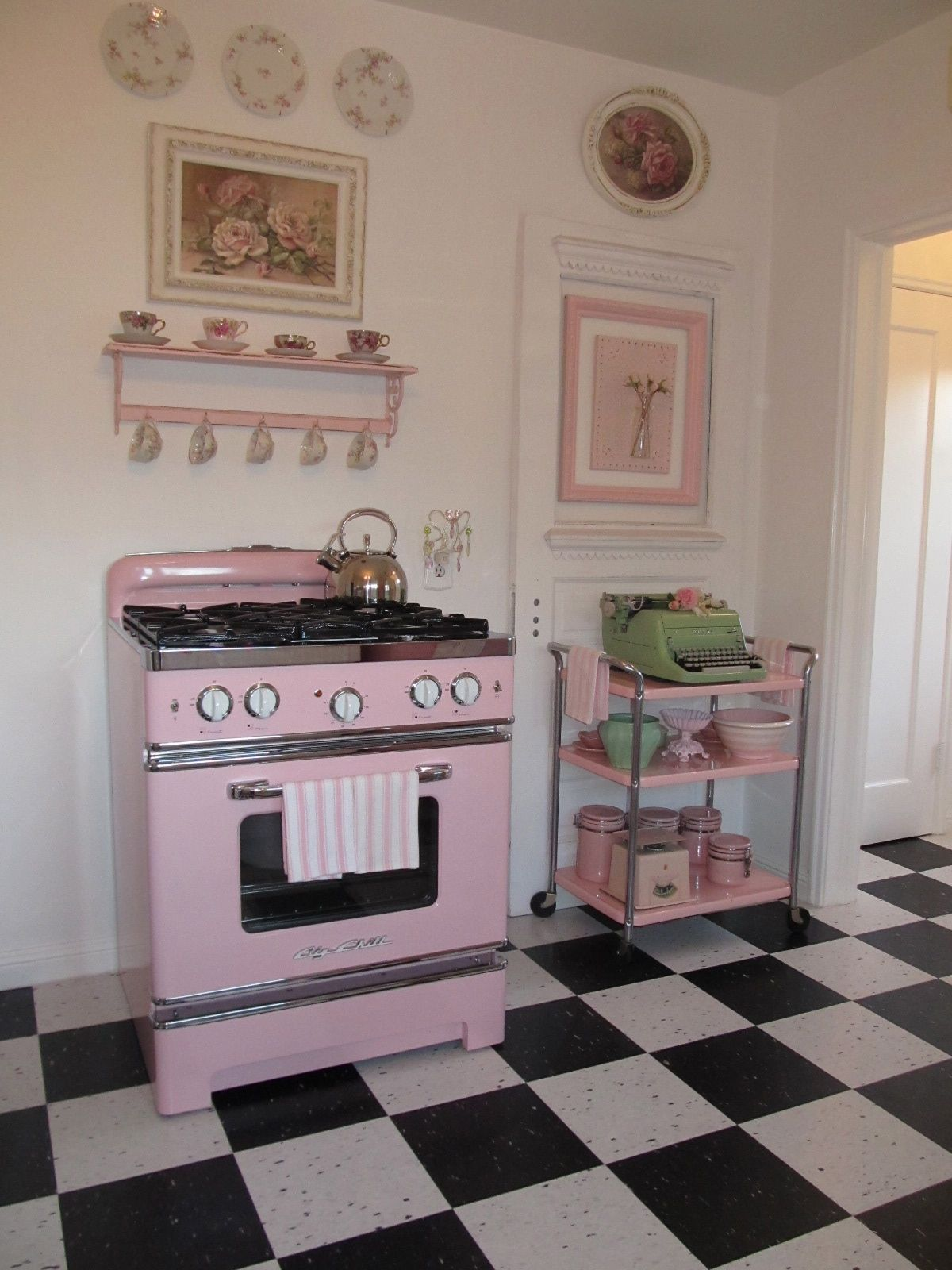 Retro Pink Stove And Vintage Cart
