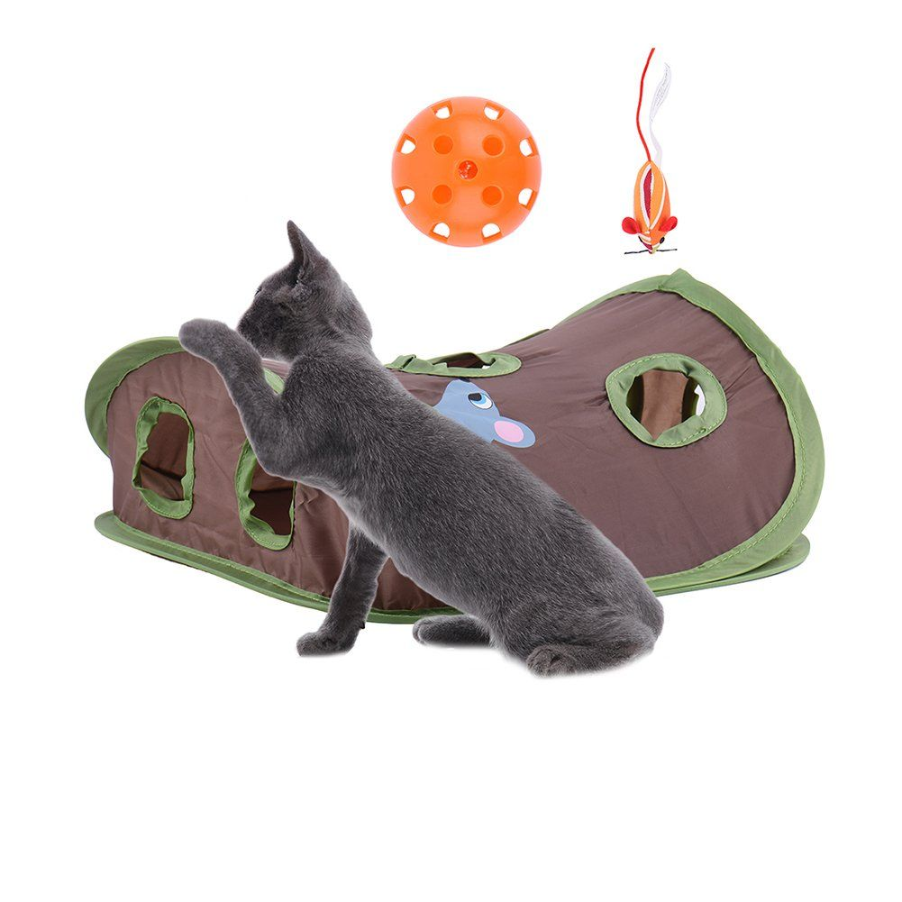 Taonmeisu Interactive Cat Toy Hide And Seek Game Pop Up Collapsible Puzzle Exercise Toy 9 Holes Mouse Hunt With Bell Nice Pet Cat Toys Kitten Toys Cat Toys