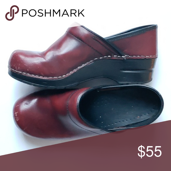 5cc2114fe69a Dansko Dark Red Clogs Sz 38 Dark Red Leather Black sole and heel Slip on  clog Has some minor scuffs on toes in great shape otherwise Dansko Shoes  Mules   ...