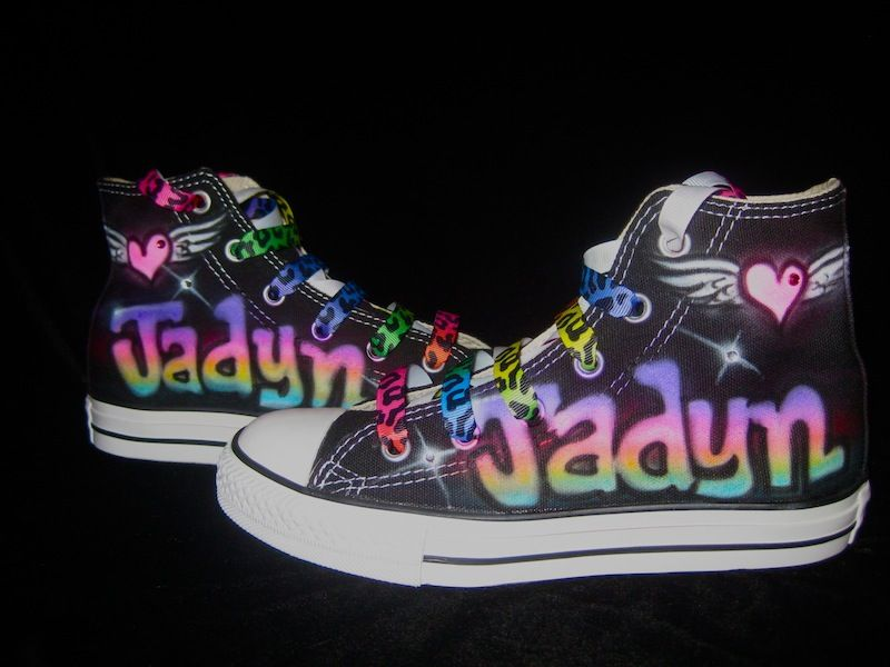 021921f4d207 ... custom spray painted converse sneakers! Glamour Toes airbrushed rainbow  name pink flying heart converse-