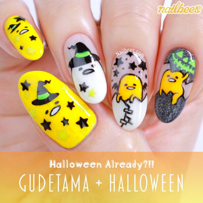 My gudetama nail art i came up with four different halloween nail my gudetama nail art i came up with four different halloween nail art ideas inspired prinsesfo Images