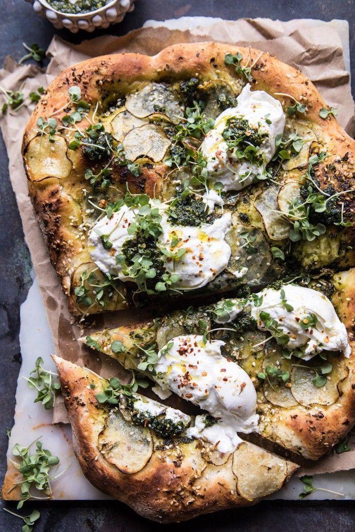 Photo of Pesto Potato and Burrata Pizza.