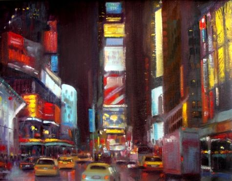 Times Square, New York City 16 x20 Oil on canvas, painting by artist Hall Groat II