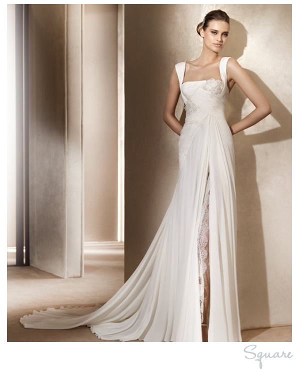 Square neck wedding dress Elie Saab. Also pretty, also don\'t know ...