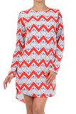 chevron print long sleeve shift dress | the factory boutique I like the uniqueness of this chevron dress, good price too.