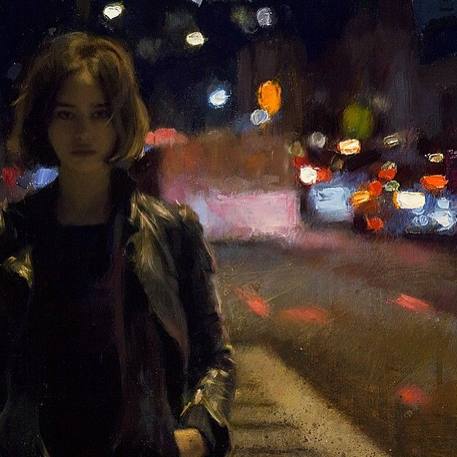 """Detail shot of my recent oil painting, """"After Midnight"""". //Casey Baugh"""