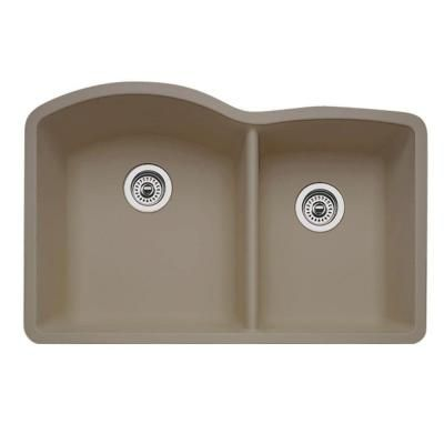Blanco Diamond Undermount Granite Composite 32 In 60 40 Double Bowl Kitchen Sink In Truffle 441284 The Home Depot Double Bowl Kitchen Sink Undermount Kitchen Sinks Sink